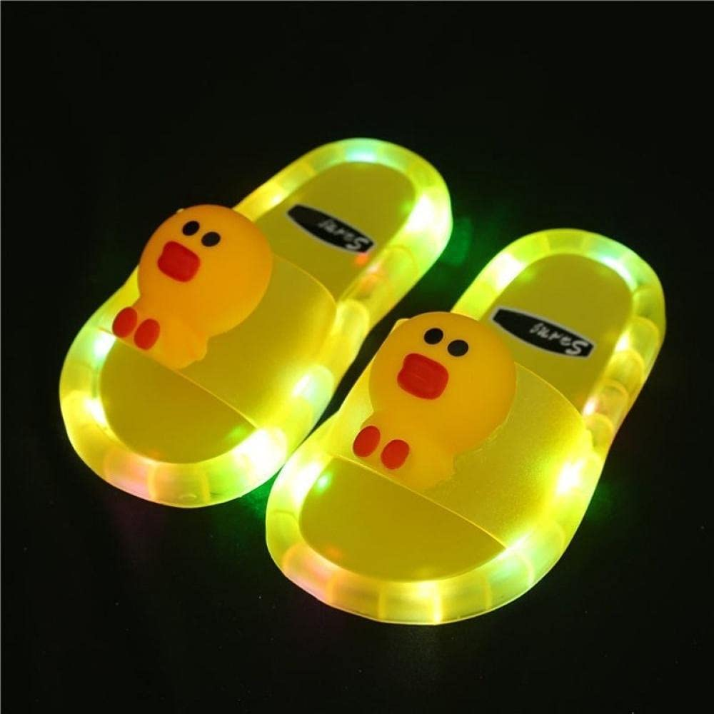 Flip Flops for Men,Bi Girls Slippers Led with Light Shining Smiley Home Anti-Skid Soft Bottom Water Wash-Yellow_28-29 Shoes Long 16.5cm