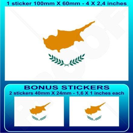 Chypre Drapeau Chypriote Cyprien 10,2 cm Bumper Sticker en vinyle (100 mm), en x1 + 2 Bonus