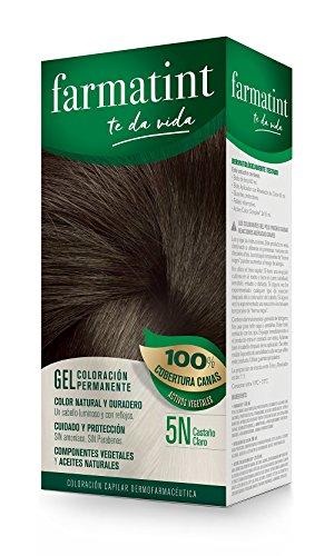Farmatint Gel 5N Castaño Claro | Color natural y duradero | Componentes vegetales y aceites naturales | Sin amoníaco | Sin Parabenos | Dermatológicamente testado