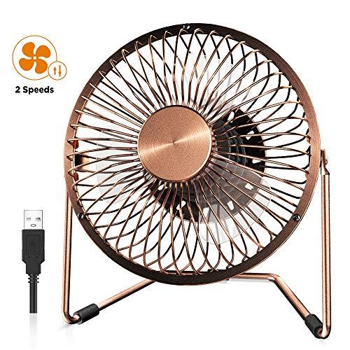 EasyAcc Ventilatore USB, 6 Pollici Mini Ventilatore da Tavolo 2 Potenti velocità del Vento Cavo USB da 120 cm Muto USB Ventilatore di Ferro Adatto per Ufficio/Casa/Viaggi/Campeggio, Bronzo