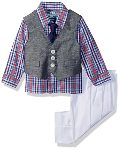 Izod Baby boys 4-Piece Vest Set with Dress Shirt, Bow Tie, Pants, and Vest, Lobster Plaid, 3/6 Months
