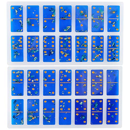 TURMIN Resina Moldes de Dominó, Molde de Epoxi Silicona para Juego Dominó 28 Rejillas, 2 Moldes Fundición de Epoxi Cristal de Dominó Personalizados para Manualidades Bricolaje