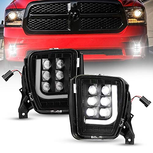 BUNKER INDUST Dodge Ram LED Fog Lights with Daytime Running Lights Set,1 Pair Clear Lens Spot Flood Driving Fog Lamps L-type DRL Replacement for 2013 2014 2015 2016 2017 2018 Dodge Ram 1500