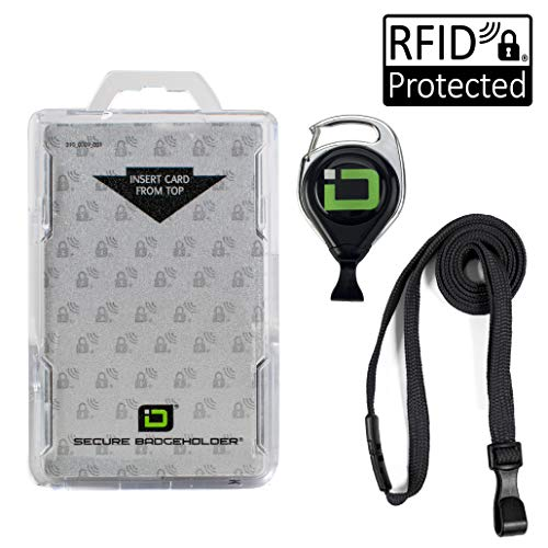 ID Stronghold Secure Badge Holder Duolite - RFID Blocking 2 Card ID Badge Holder with Lanyard and Retractable Reel - PIV, CAC and Work Cards - Heavy Duty Plastic Badge Protector - FIPS 201 Approved