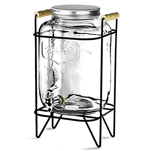 TYUIO Dispensador de Bebidas de Vidrio Elegante con espita de Acero Inoxidable y Soporte de Metal - Dispensador de Bebidas con diseño de Hielo Agrietado
