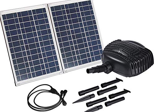 MNP SP50 50W Large Powerful Twin Panel Solar Powered Submersible Pond Pump Kit with 16 feet of hose 898 GPH - Kit weighs over 23 pounds - Ready to connect to waterfall or filtration system -