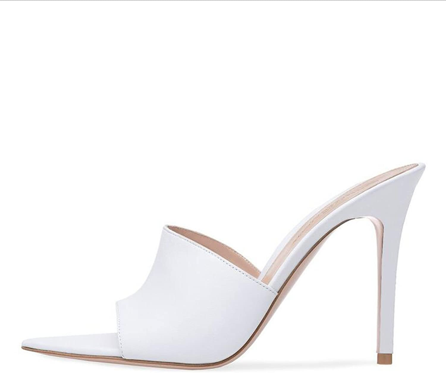 Exing Women's shoes European and American Ladies White Black High-Heeled Sandals Slippers Summer Sandals Walking shoes Stiletto Heel