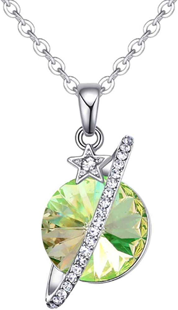 VEINTI+1 The Shining Universe Star Pendant Necklace with Crystals from Swarovski,Gifts for Women Girls
