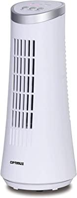 "Optimus F-7345WH 12"" Desktop Ultra Slim Oscillating Tower Fan, LED - White 12"" Desktop Oscillating Tower Fan, White"