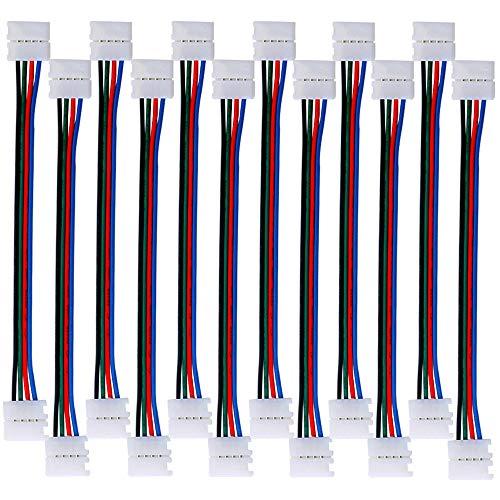 QitinDasen 12Pcs Professionell 4 Polig LED Lichtstreifen Schnellverbinder, 10mm Nicht-Wasserfest LED Eckverbinder, 5050 RGB LED Lötfrei Steckverbinder