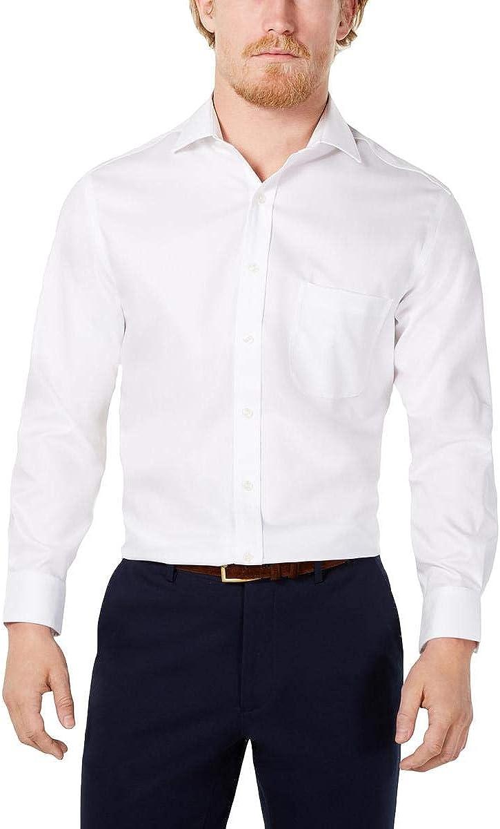 Tasso Elba Mens Dress Shirt Herringbone Regular Fit White 16 1/2