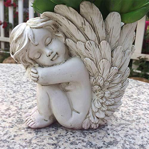 QIBAJIU Figurasestatuillaestatuasjarrón De Ángel Cupido Adorno Maceta Flor Carnosa Diosa Figuritas De ala Pequeña Decoración De Artesanía De Resina