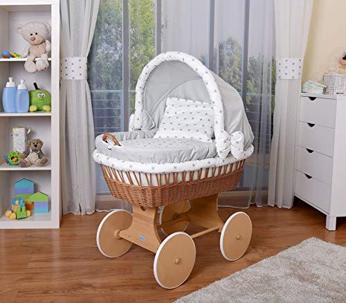 WALDIN Baby Stubenwagen-Set mit Ausstattung,XXL,Bollerwagen,komplett,26 Modelle wählbar,Gestell/Räder natur unbehandelt,Stoffe grau/Sterne-grau