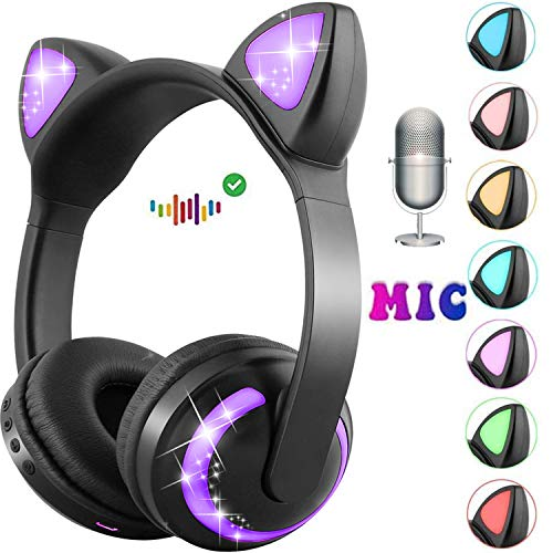 GBD Wireless Cat Ear Kids Headphones with Mic for Boys Girls Toddlers School Travel Tablet Holiday Birthday Gifts Led Glowing Earphone 85dB Volume Control On Over Ear Game Headset (Black)