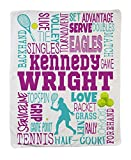 Personalized Custom Tennis (Girl) Sports Throw Blanket for Adults, Teens, Children & Kids! Fun, Bright Graphics Blanket