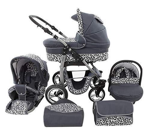 Poussette combinée Landau 3en1 Siège auto Nacelle Dino by ChillyKids graphite & léopard des neiges 3en1 avec siège bébé