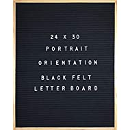 "Black Felt Letter Board 24 X 30 Portrait Orientation With 1384 -Piece Set of Large 2"" and 1"" plus 3/4"" Letters, Numbers, Symbols & Emojis, 36 Slot Organizer, Cutters, & 2 Letter Pouches, Menu Board"