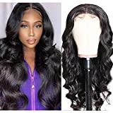 UNice 10A Body Wave Silk Base Fake Scalp Human Hair Lace Closure Wigs for Black Women Middle Part, Brazilian Virgin Hair T-Part Lace Closure Wig Pre Plucked with Baby Hair 150% Density (14 inch)