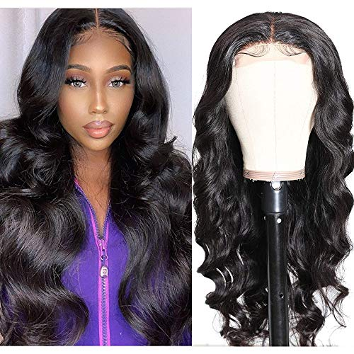 UNice 10A Body Wave Silk Base Fake Scalp Human Hair Lace Closure Wigs for Black Women Middle Part, Brazilian Virgin Hair T-Part Lace Front Wig Pre Plucked with Baby Hair 150% Density (16 inch)