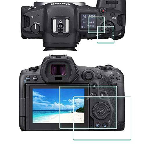 EOS R5 OBEN Bildschirmschutz + Bildschirmschutzfolie Schutzfolie für Canon EOS R5 Kamera, ULBTER EOS R5 9H Festigkeit LCD Gehärtetes Glas Kratzfest Anti-Fingerabdruck Anti-Staub Blasenfrei [2+2 Stück]