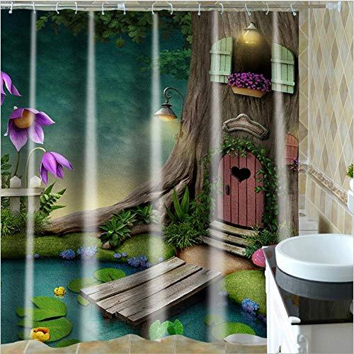 PXFCV Karikatur-Feenhafter Baum-Höhlen-Kabinen-Duschvorhang Muster-Grüner Frühlings-Asiatischer Textilgewebe-Duschvorhang 3D,130cmx180cm