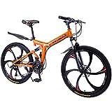 Max4out Mountain Bike Folding Bikes, 6 Spoke 21 Speed Shining SYS Double Disc Brake Suspension Fork Rear Suspension Anti-Slip (Orange, 26 in)