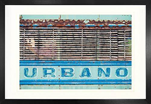 1art1 Coches Antiguos Urbano, Viejo Autobús Cubano Póster (91 x 61cm) con Marco MDF (120 x 80cm)