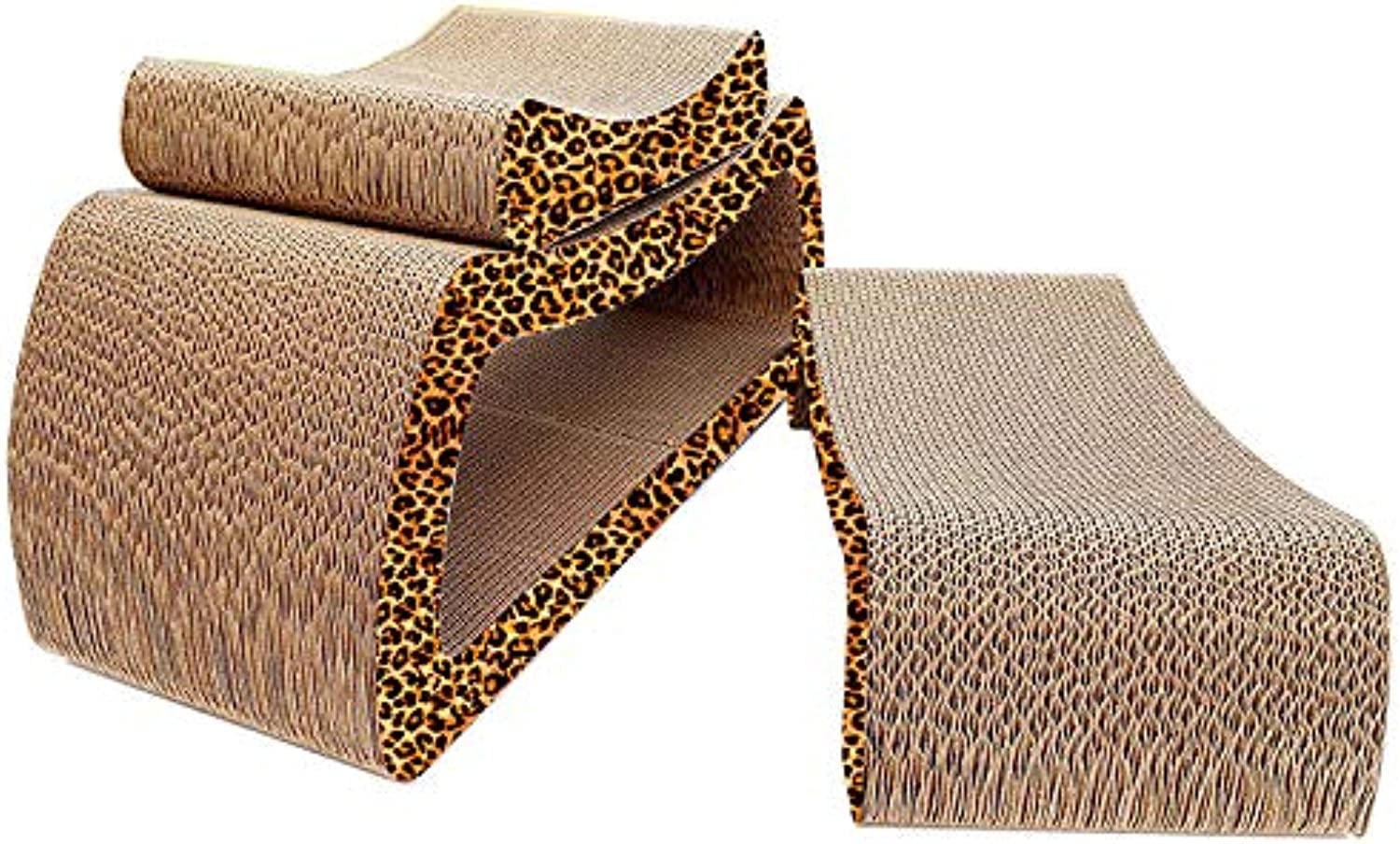 Cat Scratch Board Large Sofa Corrugated Paper Big Cat Grinding Claws Play Rest Cat with 60 cm Suitable for Medium and Large Cats 3 Pieces Combined,leopardprint,60  23  24cm