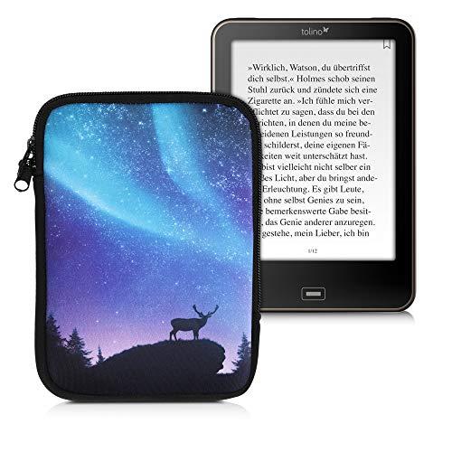 kwmobile Funda Universal para e-Book - Estuche de Neopreno con Cierre de Cremallera para e-Reader - Carcasa en Turquesa/Azul/Negro