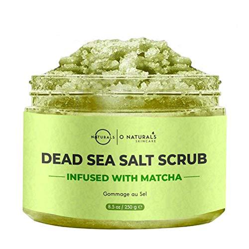 Exfoliante Natural Cara y Cuerpo Antioxidante con Té Verde Matcha y Sal Mar Muerto. Previene Envejecimiento Piel Firme Radiante y Suave. Hidratante Protege la piel del Dañó Ambiental Mujer-Hombre.