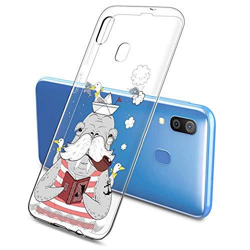 Oihxse Mode Case Compatible pour UMIDIGI A3 Coque Transparent Silicone Gel TPU Bumper Animal Motif Dessin Cover Ultra Mince Crystal Clear Antichoc Protection Couverture,Éléphant 1