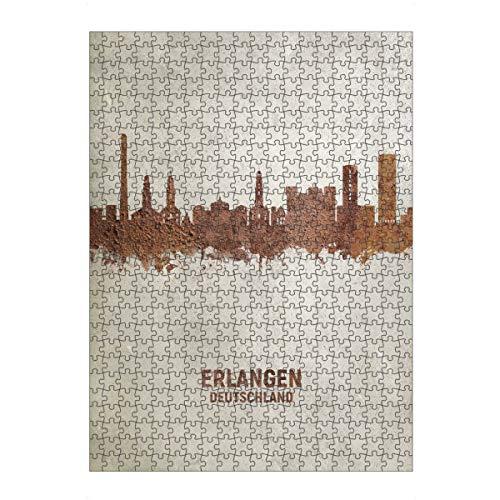 artboxONE Ravensburger-Puzzle L (500 Teile) Städte Erlangen Germany Skyline Rust - Puzzle erlangen Germany Skyline