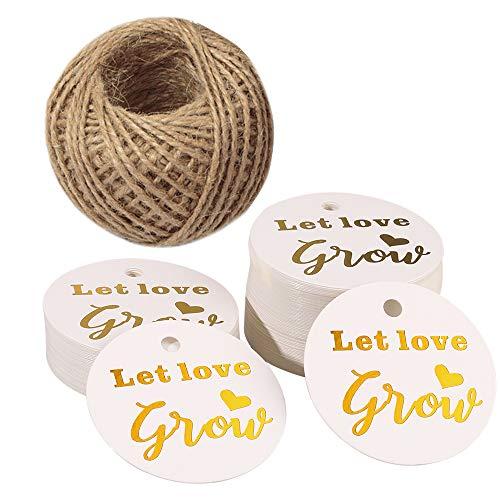 Lot de 100 étiquettes « Let Love Grow » pour cadeau de mariage - 5 cm - Blanc - Avec 30 m de ficelle de jute