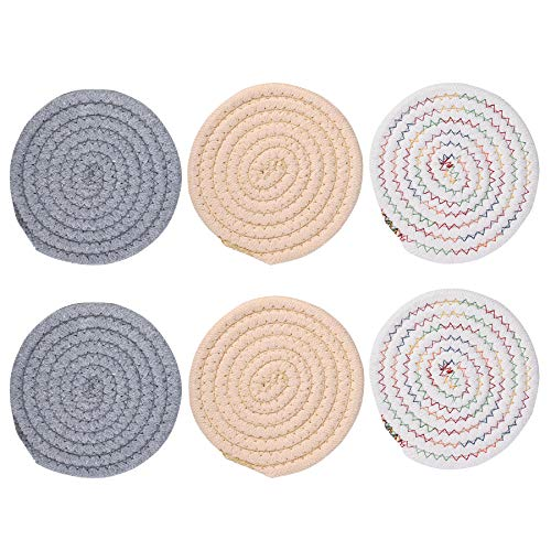 Set of 6 Coasters for Drinks, Handmade Braided Drink Coasters,Super Absorbent Heat-Resistant Coasters for Drinks