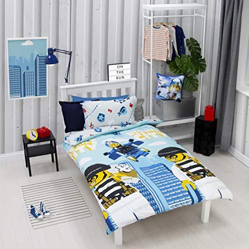 LEGO City On The Run Single Duvet Cover | World Tour Design | Children's Kids Bedding Set & Pillowcase, Multi Coloured