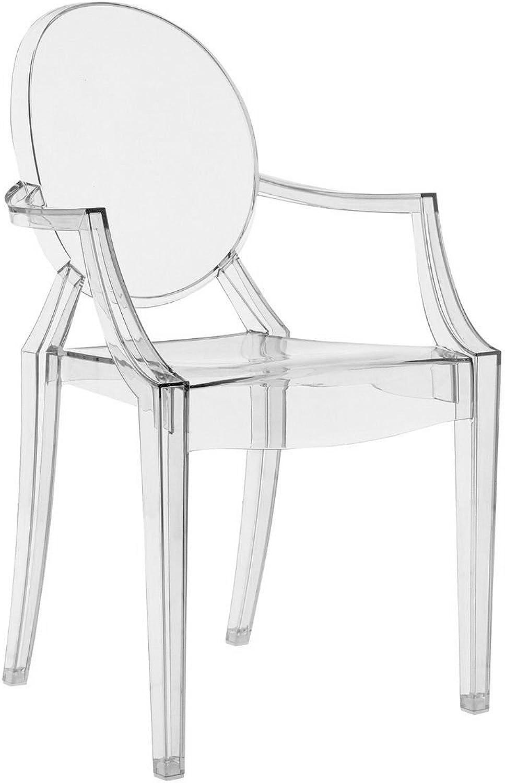 Modern Esszimmerstuhl aus strapazierfhigem Material Wohnzimmer Stuhl Super Büro Restaurant 2 Farben (Transparent)