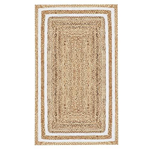 MARRAKESCH Handgewebter Jute Teppich Läufer Chloe 110 x 60 cm groß   Teppichläufer geflochten als Fußmatte vor der Haustür innen oder draußen   Küchenläufer im Flur Badezimmer oder Küche