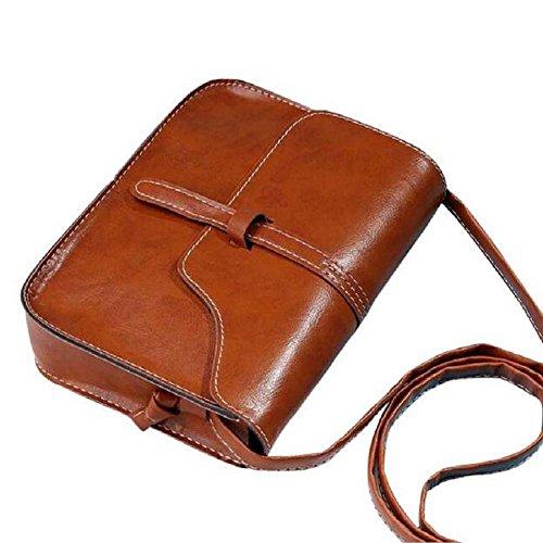 borsa vintage borsa, FEITONG tracolla in pelle tracolla messenger (Caffè)