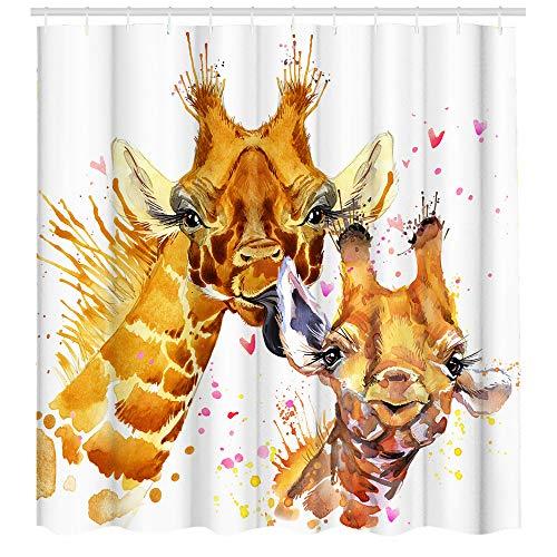 Funny Giraffe Duschvorhang Stoff Badezimmer Vorhang mit Haken niedliche Tiere Duschvorhang-Sets für Kinderzimmer Dekoration 72 B x 72 L