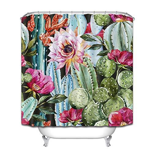 ZZZdz schilderij. Cactusbloesems. Douchegordijn. 180 x 180 cm. 12 vrije haken. Decoratie voor in huis. 3D-HD-druk. Makkelijk schoon te maken. Badkameraccessoires.