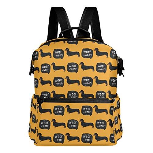 Rucksack mit Dackel-Motiv, gelb, leicht, wasserdicht, Polyester, große Kapazität, Campus-Rucksack, Reiserucksack, Tagesrucksack