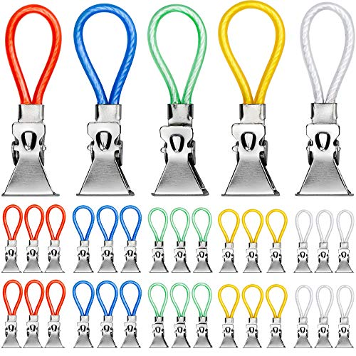 KUPINK 30pcs Clips para Paños de Cocina Clips para Toallas de Metal para Toallas de Lavabo Manteles la Mayoría de los Artículos Colgantes 5 colores