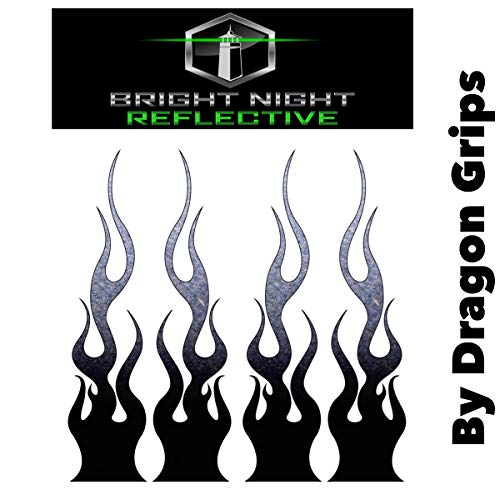 """Flame Decals Reflective (2) 1.25""""x5.25"""" Great for Helmets, Motorcycles, Computer Stickers, Phone, Tablet, Hard hat (Black)"""