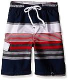 Kanu Surf Boys' Big Viper Quick Dry UPF 50+ Beach Swim Trunk, Optic Navy/Red, 10/12