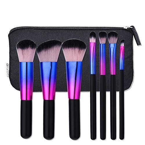 Maquillage Fondation Crayon Sourcils 7PCS haut de gamme professionnelle, maquillage fard à joues Pinceau avec sac de maquillage Convient for les dames Daily Party Voyage facile à transporter Matériel