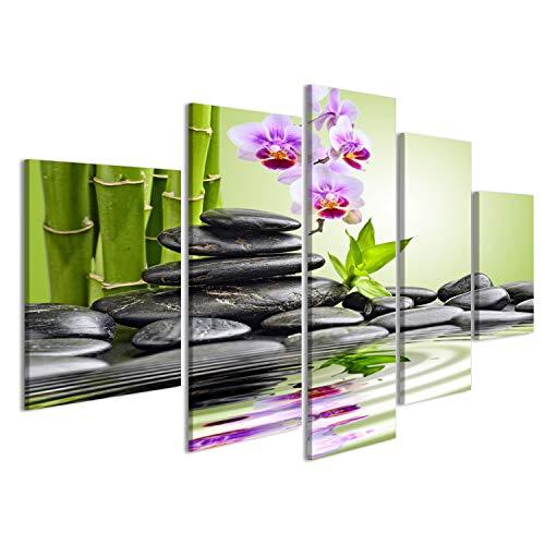 islandburner Bild Bilder auf Leinwand Orchideen Wasser Steine Zen Bambus Poster, Leinwandbild, Wandbilder