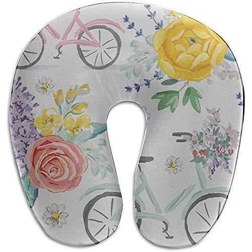 Warm-Breeze Baby Mädchen Kissen Fahrrad um Blume Cartoon Mode U-förmige Memory Foam Nackenkissen Reisekissen Reisekissen