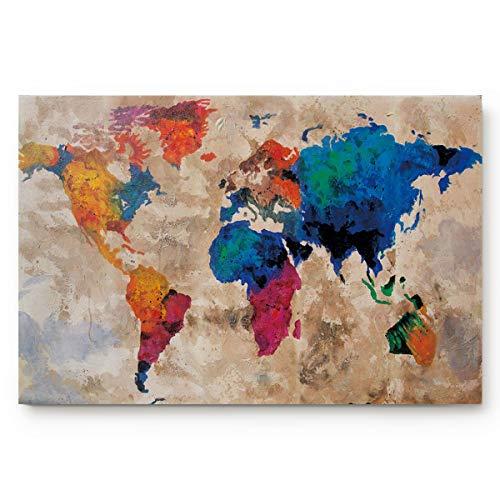 Retro Colorful World Map Doormats Entrance Front Door Rug Outdoors/Indoor/Bathroom/Kitchen/Bedroom/Entryway Floor Mats,Non-Slip Rubber,Low-Profile
