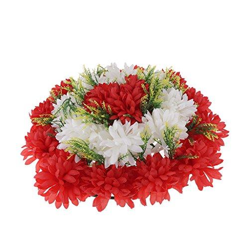 Homyl Künstliche Nelken- und Chrysanthemen Blumenkranz Grabschmuck Grabgesteck Grabdekoration Totensonntag Allerheiligen für Trauerfeier und Beerdigung - rot