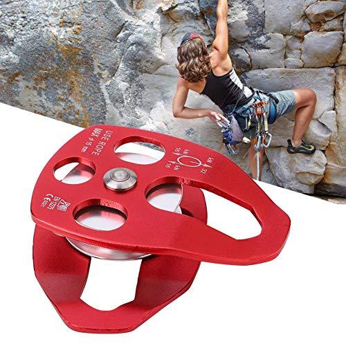 Alomejor 32KN Kletterrolle Aluminiumlegierung Klettern Seilrolle Bergsteigerrolle Seil Riemenscheibe Klettern Abseilen Zubehör Kletterausrüstung für Klettern im Freien(rot)
